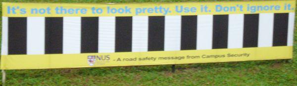 Nicht vergessen den Zebrastreifen zu benutzen. Straße einfach irgendwo überqueren 50S$.